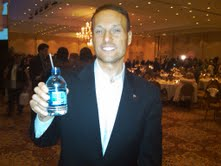 Adam with Sarah Palin's water bottle.