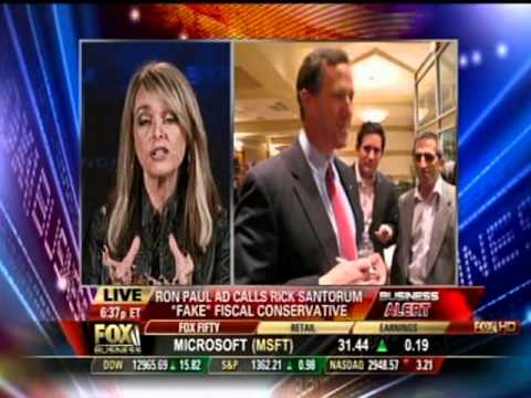 Photo of Dr. Gina on Fox Business Channel comments on Ron Paul's anti-Santorum ads