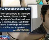 Facebook co-founder pledges $20 million to Hillary Clinton