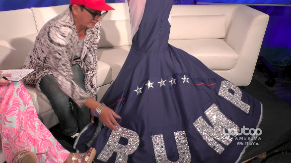 Photo of Andre Soriano brings his #Trump #GrammyDress in studio with Dr. Gina